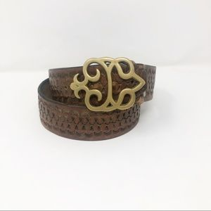 Vintage Brass Decorative Engraved Leather Belt S/M